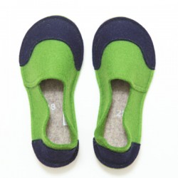 School Kids Wool Felt Slippers - GREEN Boy (28)