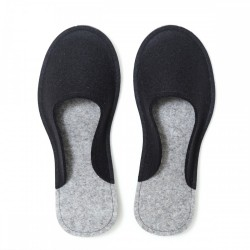 Women's Wool Felt Slippers - Minimal BLACK