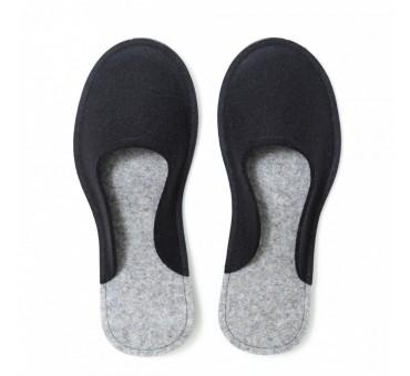 Women's Wool Felt Slippers - BLACK Minimal