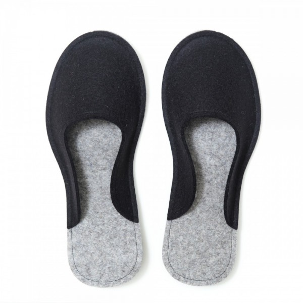 bce404742651b Women's Wool Felt Slippers - Minimal BLACK