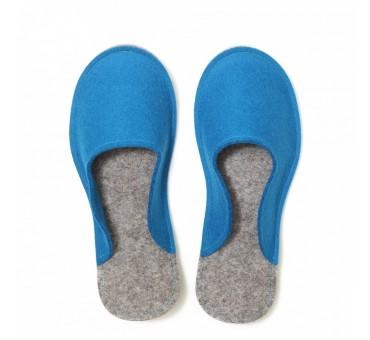 Women's Wool Felt Slippers - BLUE Minimal