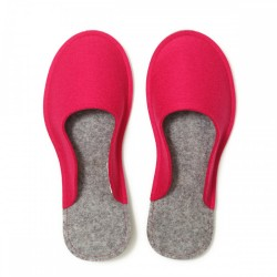 Women's Wool Felt Slippers - Minimal PINK
