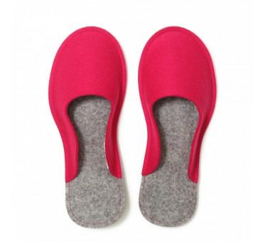 Women's Wool Felt Slippers - PINK Minimal