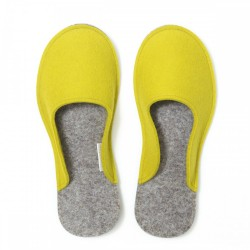 Women's Wool Felt Slippers - Minimal YELLOW GREEN