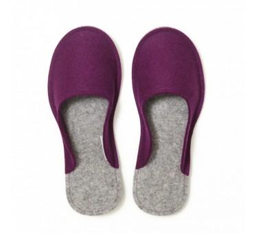 Women's Wool Felt Slippers - VIOLET Minimal