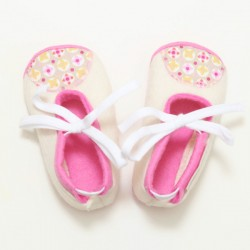 Baby Wool Felt Slippers - WHITE PINK (17) - LAST ONE