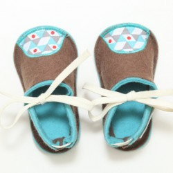 Baby Wool Felt Slippers - BROWN BLUE (18) - LAST ONE