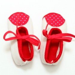 Baby Wool Felt Slippers - WHITE RED POLKA DOT (17) - LAST ONE