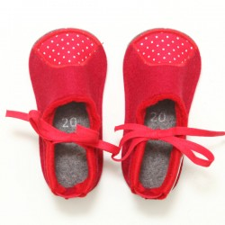 Baby Wool Felt Slippers - RED (20) - LAST ONE