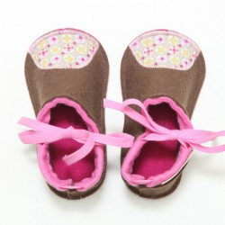 Baby Wool Felt Slippers - BROWN PINK (19) - LAST ONE