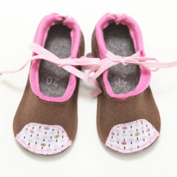 Baby Wool Felt Slippers - BROWN PINK (20) - LAST ONE