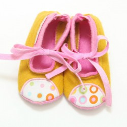 Baby Wool Felt Slippers - YELLOW PINK (17) - LAST ONE