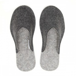 Women's Wool Felt Slippers - Natur DARK GREY