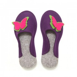 Women's Wool Felt Slippers - Butterfly VIOLET (36) - LAST