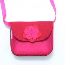 Wool Felt Purse - Pink Red - LAST ONE