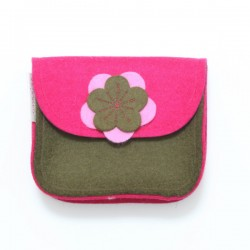 Wool Felt Purse - Pink Brown - LAST ONE