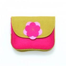 Wool Felt Purse - Pink Mustard - LAST ONE
