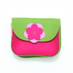 Wool Felt Purse - Pink Green - LAST ONE