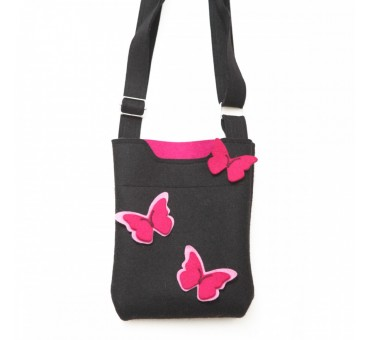 SmallBag - Wool Felt Bag - Black Pink Butterfly