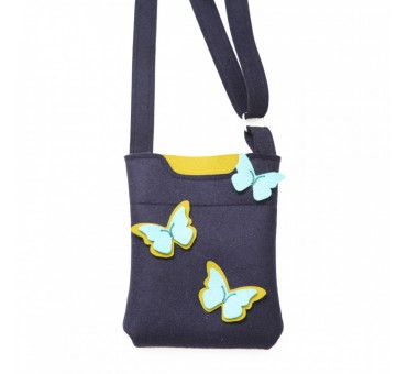 SmallBag - Wool Felt Bag - Navy Yellow Turq Butterfly