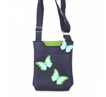 SmallBag - Wool Felt Bag - Navy Green Turq Butterfly