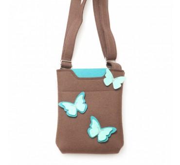 SmallBag - Wool Felt Bag - Brown Turq Butterfly