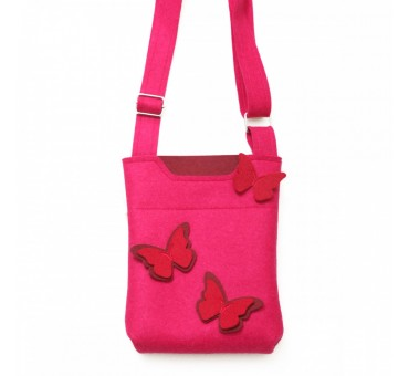 SmallBag - Wool Felt Bag - Pink Red Butterfly
