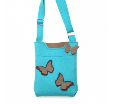 SmallBag - Wool Felt Bag - Turq Brown Butterfly
