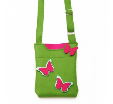 SmallBag - Wool Felt Bag - Green Pink Butterfly