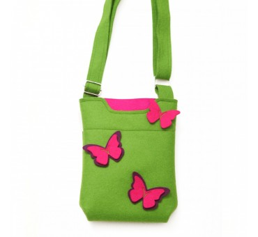 SmallBag - Wool Felt Bag - Green Violet Butterfly