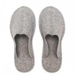 Men's Wool Felt Slippers - Natur LIGHT GREY