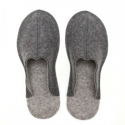 Men's Wool Felt Slippers - Natur DARK GREY