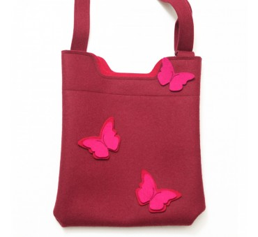 Wool Felt Bag - Bordeaux Pink Butterfly