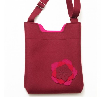Wool Felt Bag - Bordeaux Large Flower