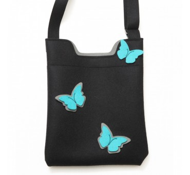 Wool Felt Bag - Black Turq Grey Butterfly