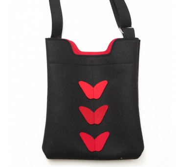 Wool Felt Bag - Black Red Butterfly