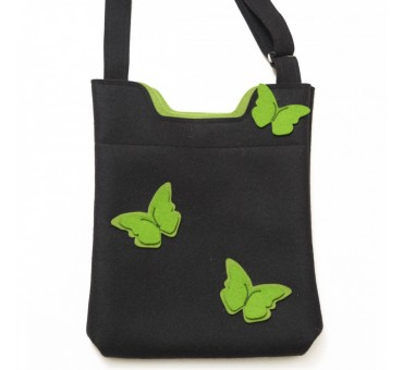 Wool Felt Bag - Black Green Butterfly