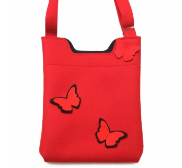 Wool Felt Bag - Red Black Butterfly