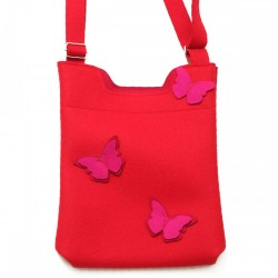 Wool Felt Bag - Red Pink Butterfly