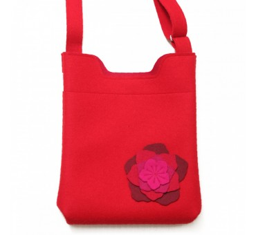 Wool Felt Bag - Red Large Flower