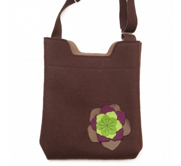 Wool Felt Bag - Brown Large Flower