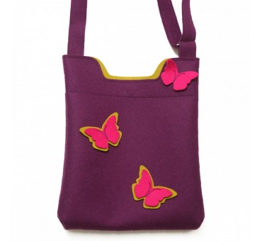 Wool Felt Bag - Viola Butterfly Mustard