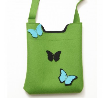 Wool Felt Bag - Green Blck Turq Butterfly