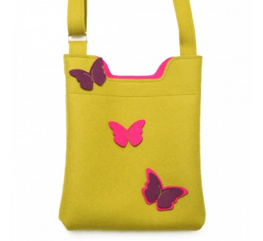 Wool Felt Bag - Mustard Violet Butterfly