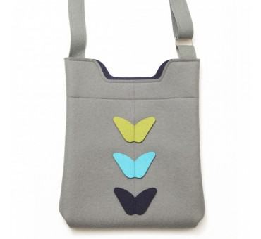 Wool Felt Bag - Grey Blue Yellow