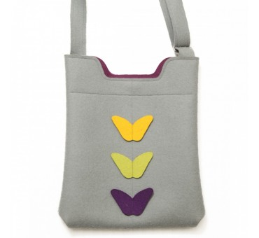 Wool Felt Bag - Grey Viola Yellow
