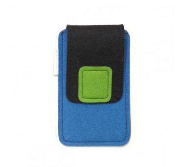 Large Smartphone Wool Felt Case - BLUE BLACK GREEN