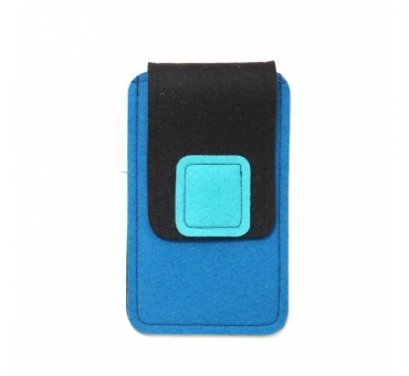 Large Smartphone Wool Felt Case - BLUE BLACK TURQ