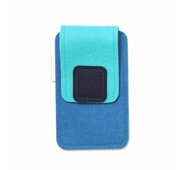 Large Smartphone Wool Felt Case - BLUE TURQ BLACK