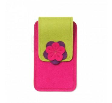 Large Smartphone Wool Felt Case - PINK MUSTARD